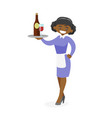 african-american waitress holding tray with wine vector image vector image