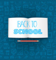 back to school concept with the book lettering vector image vector image