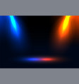 blue and orange focus spotlight effect background vector image