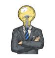businessman lamp bulb head color sketch engraving vector image vector image