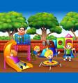 cartoon children having fun in the playground vector image vector image