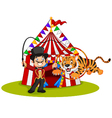 Cartoon tiger jumping through ring with circus vector image vector image