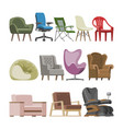 chair comfortable furniture armchair vector image vector image