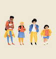 children different ages with backpacks vector image
