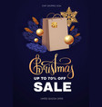 christmas sale design template with gift bag fir vector image vector image