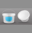 clear plastic bucket front and top view vector image vector image