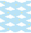 cloud star in blue sky seamless pattern ready vector image