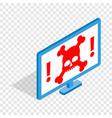 computer monitor with a skull and bones isometric vector image vector image