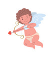 cupid character shooting an arrow of love vector image vector image
