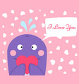 cute funny whale with heart vector image vector image