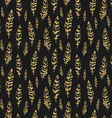 Dark and gold seamless pattern with feathers vector image vector image