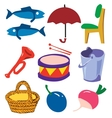 Doodle cartoon simple objects set vector image