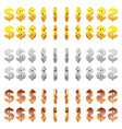 effect 3d animation metal spinning dollar sign vector image vector image