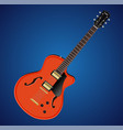 electric hollow body guitar icon vector image