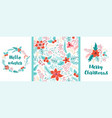 floral christmas pattern set christmas floral vector image vector image