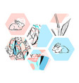 floral easter bunny vector image vector image