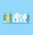 group medical workers in personal protective vector image vector image