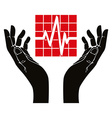 Hand with cardiogram symbol vector image
