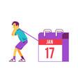 happy man pulling huge calendar flat vector image vector image