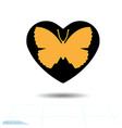 heart black icon love symbol orange vector image vector image