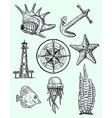 ink hand drawn style marine set vector image