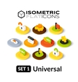 Isometric flat icons set 1 vector image vector image