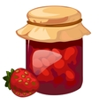 Jar of homemade strawberry jam dessert vector image