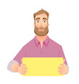 man holding blank paper vector image vector image