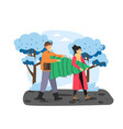 merry christmas scene happy couple carrying vector image vector image