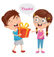 of kid giving gift to his frie vector image
