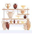 old jug on shelves antique vessel in museum vector image