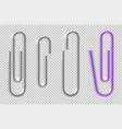 paper clips realistic metal clip for paper sheets vector image vector image