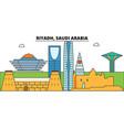 riyadh saudi arabia outline skyline arab flat vector image vector image
