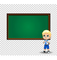 school boy near chalkboard with copy space on vector image