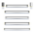 set of fluorescent lamps with mirror reflection vector image