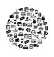 shopping icons in circle vector image