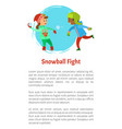 snowball fights children playing snow outdoors vector image vector image
