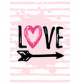 valentine s day card design with heart logo love vector image