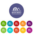 water energy icons set color vector image vector image