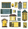 watercolor windows set different shapes and sizes vector image