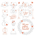 weddings banner tag icons ribbons set vector image vector image