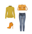 women set sweater pants bag and boots vector image vector image