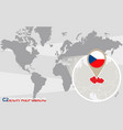 world map with magnified czech republic vector image vector image