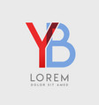 Yb logo letters with blue and red gradation