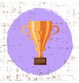 bronze cup trophy icon grunge retro design vector image