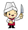 chef character is holding a knife isolated on vector image