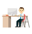 young business man working on desk with computer vector image