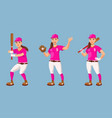 baseball player in different poses vector image vector image