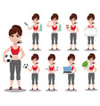 beautiful woman in sport outfit set vector image vector image