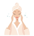Beautiful young woman touching her face Beauty Spa vector image vector image